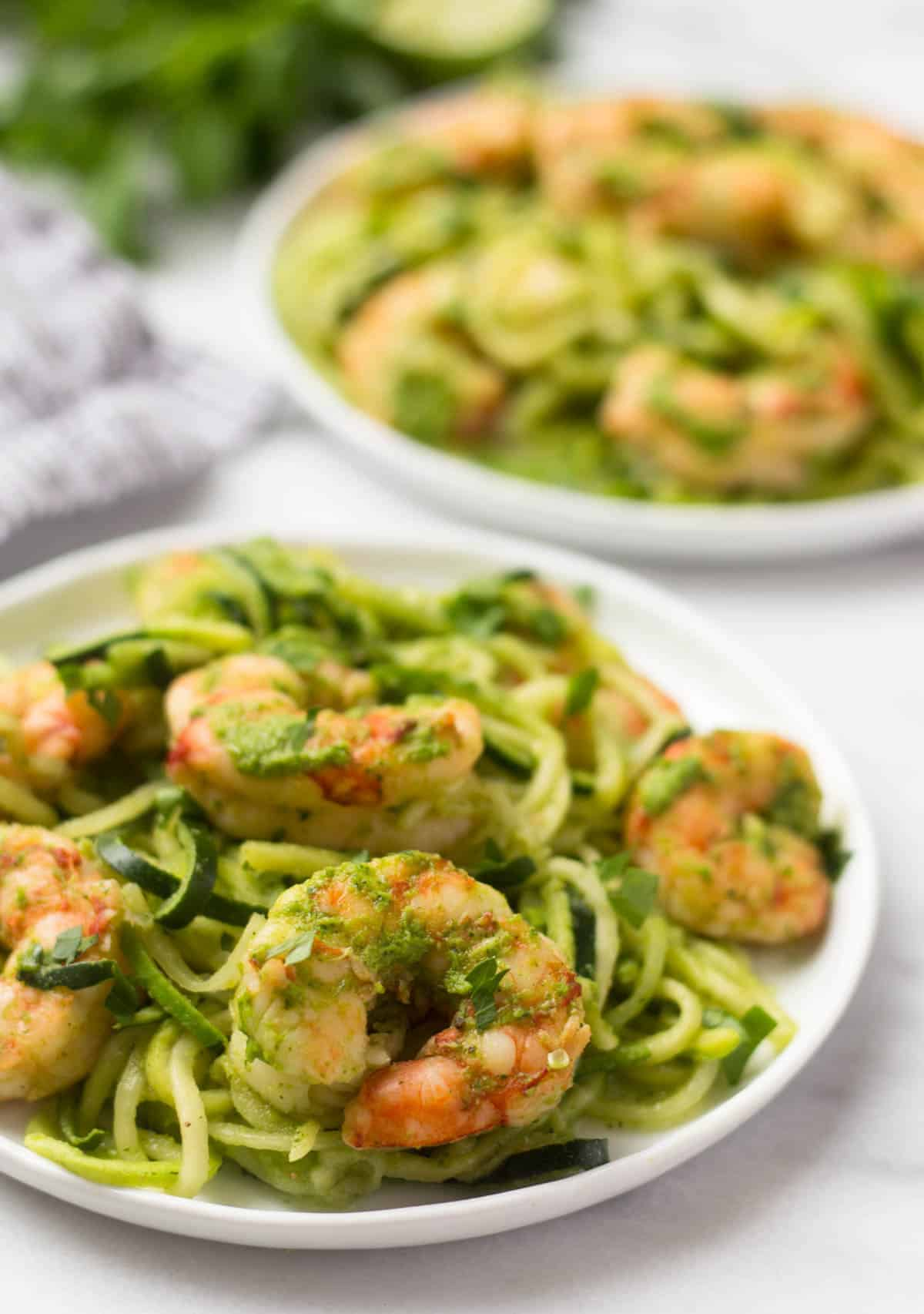 10 minutes + one pan is all you need for these Spicy Chimichurri Shrimp Zucchini Noodles! The easiest paleo, Whole30, and gluten free dinner for summer! - Eat the Gains