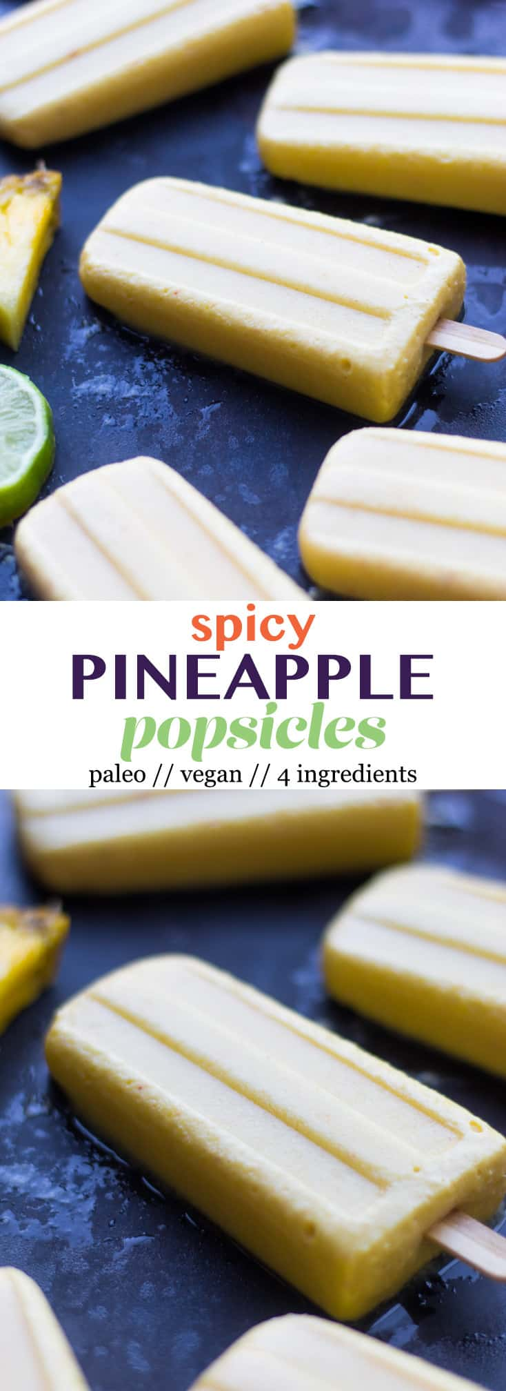 4 ingredient Pineapple Popsicles make an easy and healthy summertime treat. They are vegan, paleo, and sweetener free! - Eat the Gains