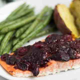 Cranberry Balsamic Roasted Salmon