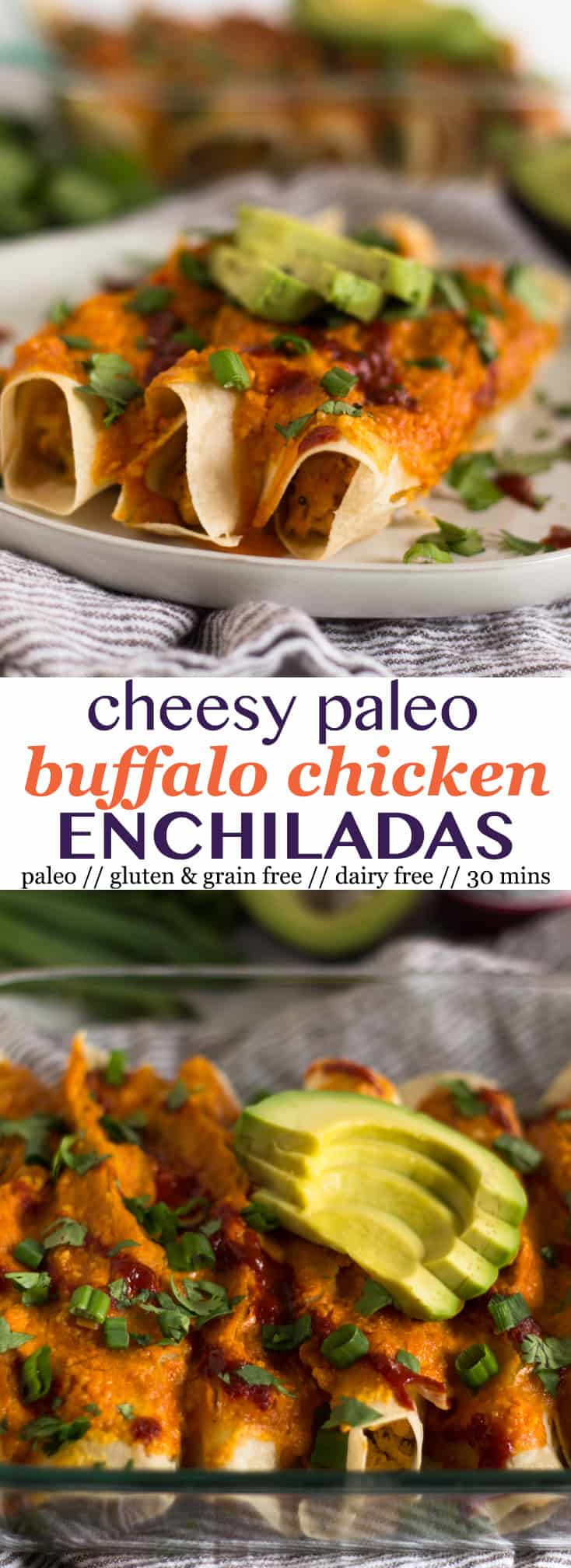 A comforting and healthy spin on enchiladas, theseCheesy Paleo Buffalo Chicken Enchiladas pack the flavor while being gluten, grain, and dairy free! - Eat the Gains