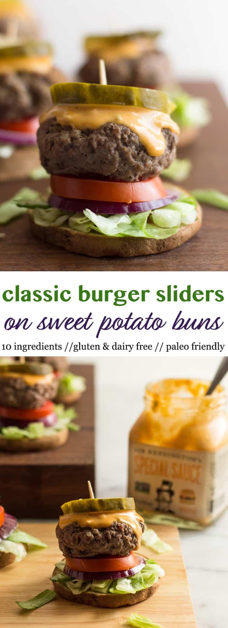 Classic Burger Sliders on Sweet Potato Buns Pinterest Image