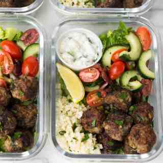 Meal Prep Whole30 Greek Lamb Meatball Bowls
