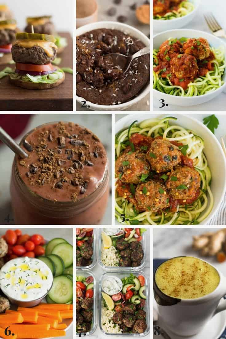 Collage of all the recipes made on Eat the Gains in February