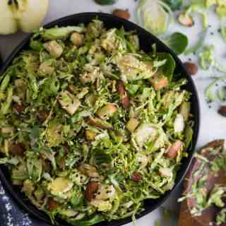 Apple & Shaved Brussels Sprouts Salad with Creamy Balsamic