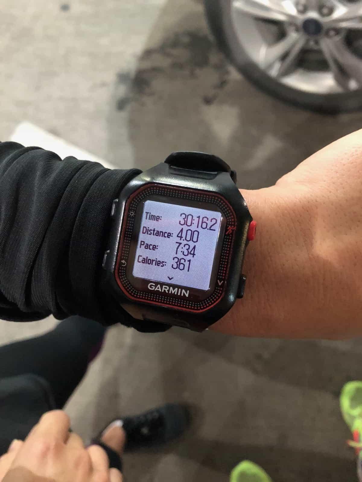 Running watch with a run recap on it