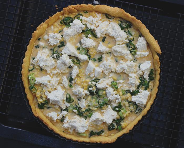 corn and ricotta tart uncooked