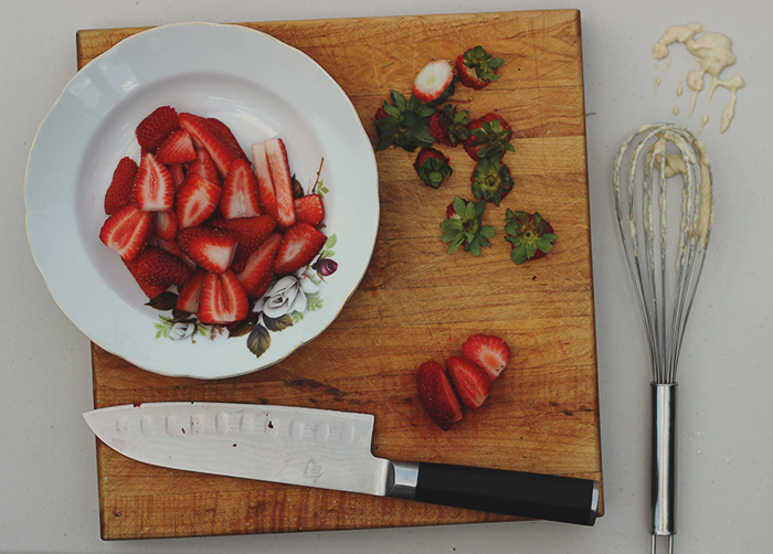 pancake strawberry prep