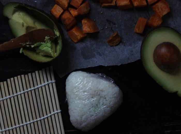 sweet potato avocado onigiri