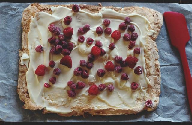 almond raspberry meringue prep