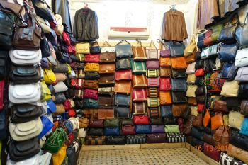 Leather goods in Fes
