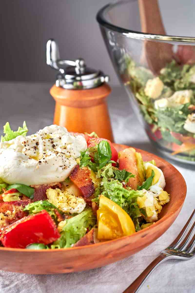 Tomato, Bacon, Egg, and Burrata Salad