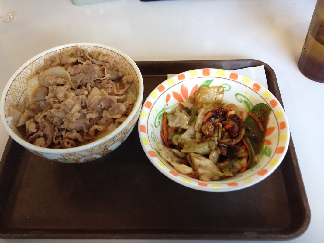 Sukiya: Vegetables seasoned with Rich Miso on Beef Bowl(453yen)