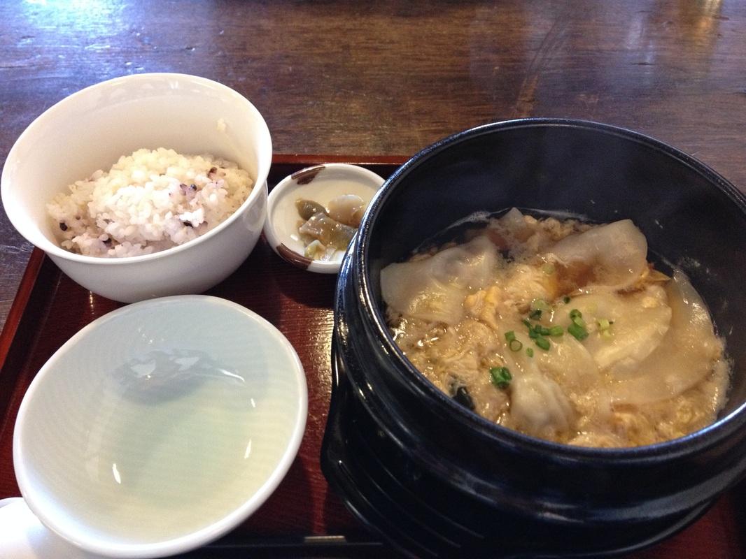 Boiled Gyoza in Egg & Wakame Seaweed Soup
