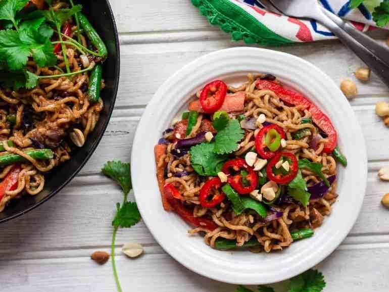 Satay noodle stir fry