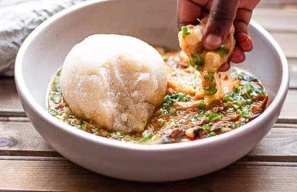 Okro soup with eba