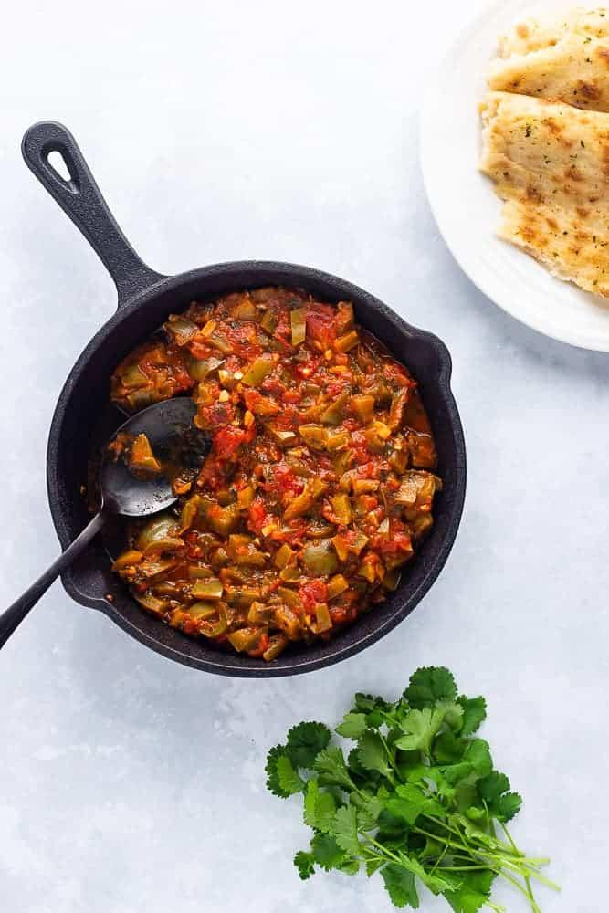 Taktouka, a Moroccan starter in a pan
