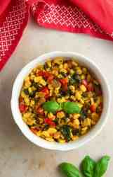sweet corn stir fry in a bowl