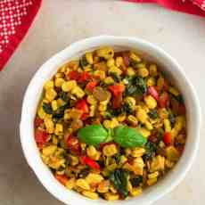 sweet corn stir fry in a bowl