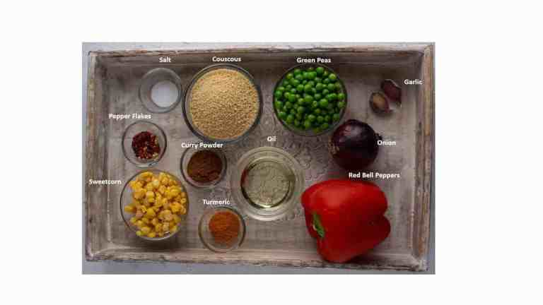 Curried couscous ingredients