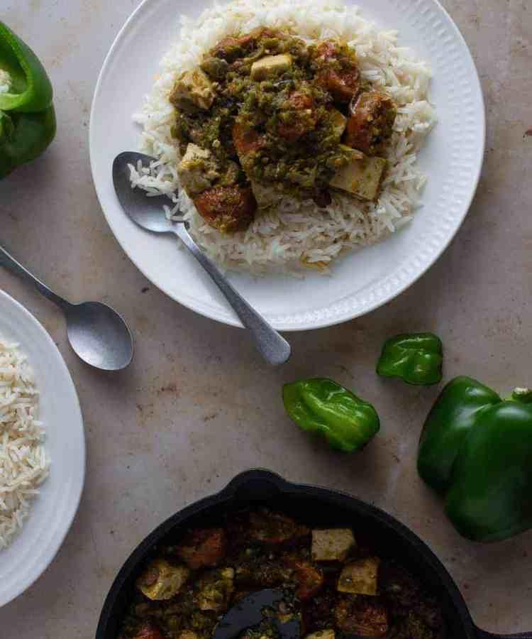 Vegetarian Ayamase stew with tofu and vegan sausages