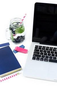 Summer fresh food fruit beverage note blue laptop