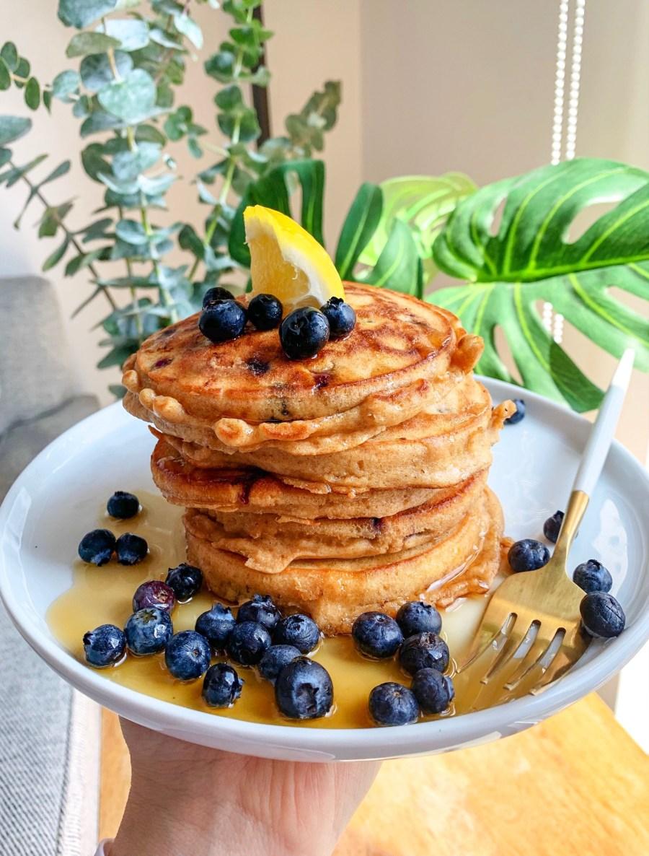 Homemade Lemon Blueberry Pancakes