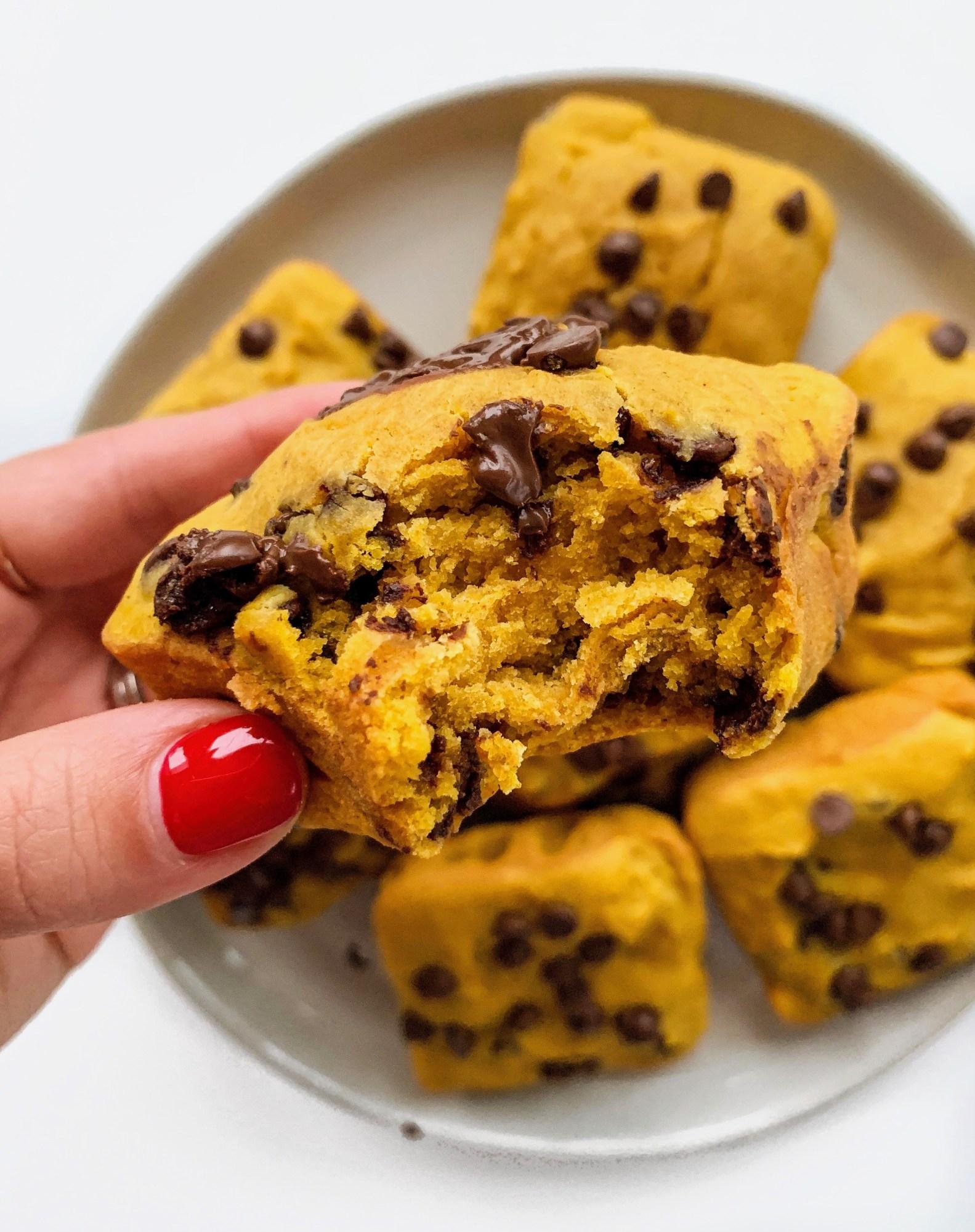 Pumpkin Tahini Chocolate Chip Muffins