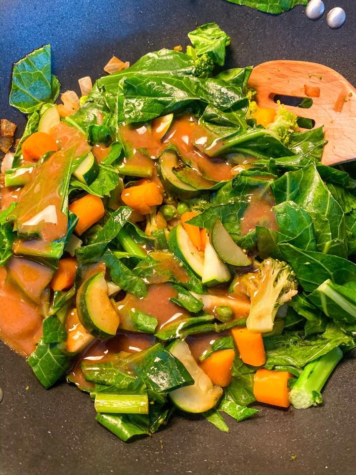 Vegan Sesame Stirfry with Collard Greens