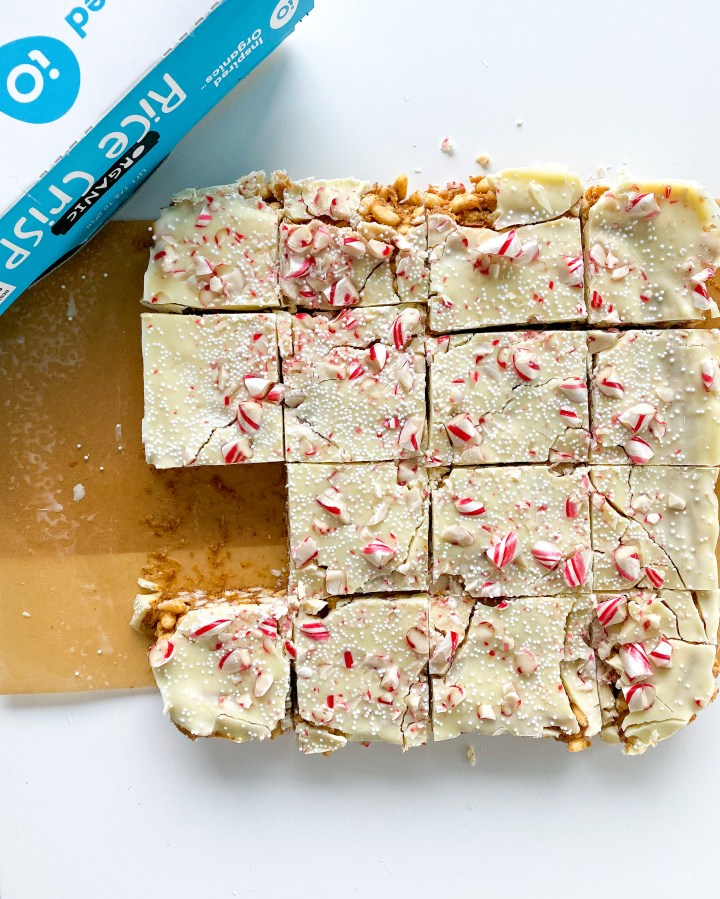Peppermint White Chocolate Crisp Bars