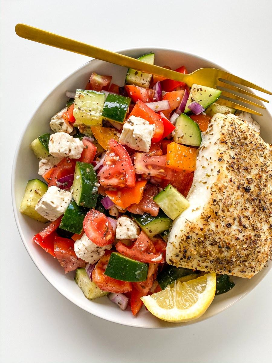 Mediterranean Style Halibut with Village Greek Salad