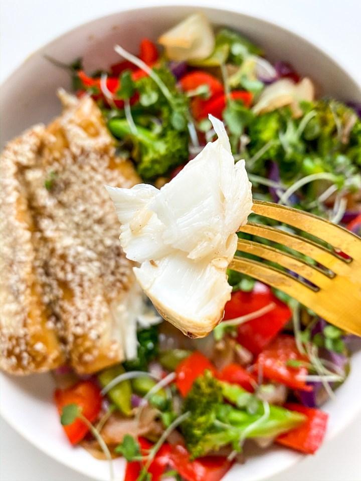 Teriyaki Glazed Alaska Halibut with Stir Fry Veggies