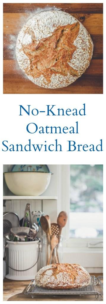 No-Knead Oatmeal Sandwich Bread - Vegan, Oil-Free