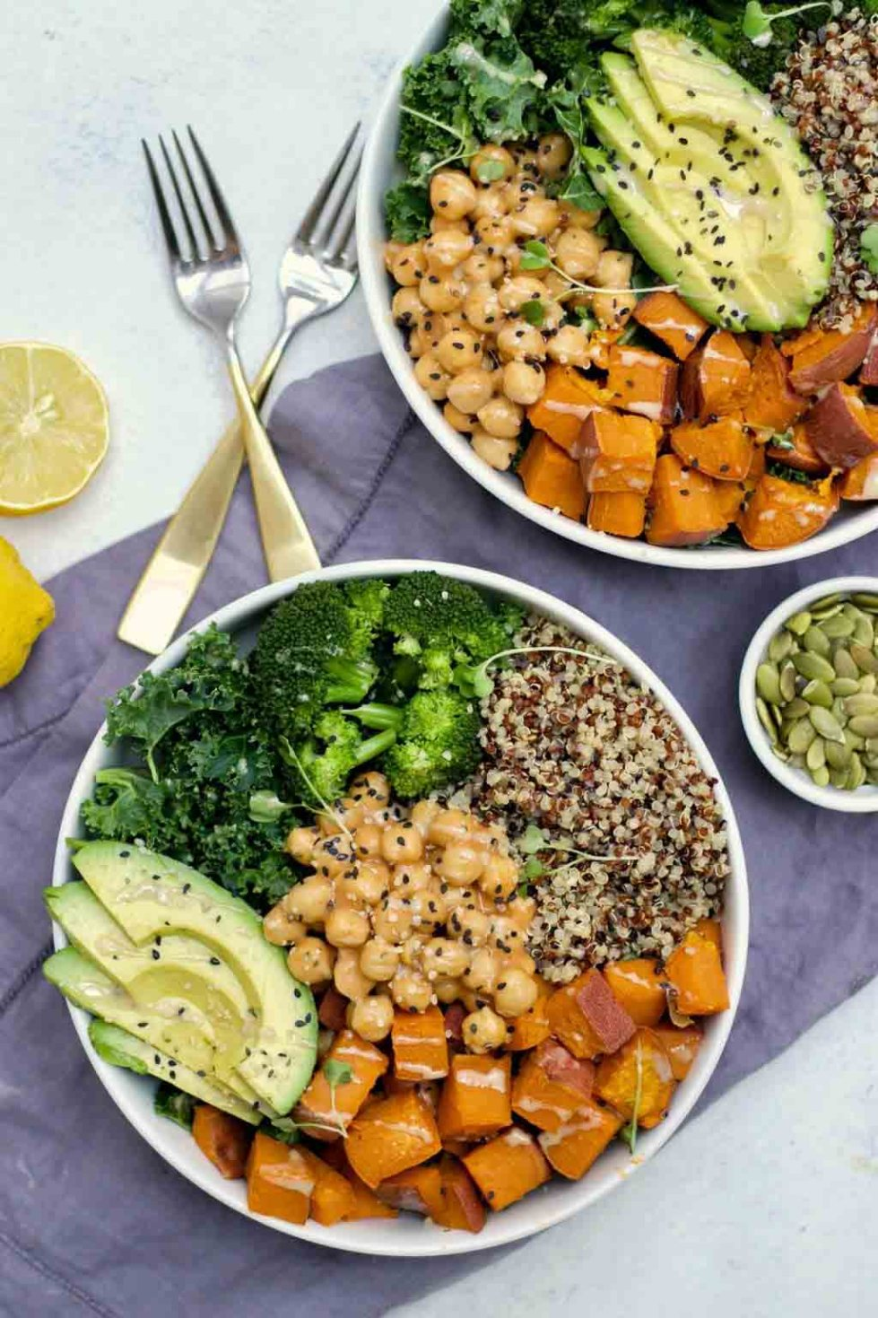 This sweet potato chickpea buddha bowl recipe is easy, delicious, and perfect for meal prep!