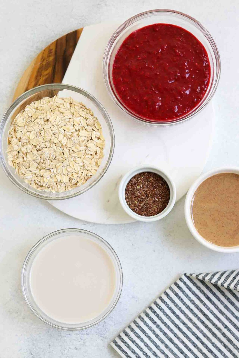 Ingredients arranged for this easy overnight oats recipe.