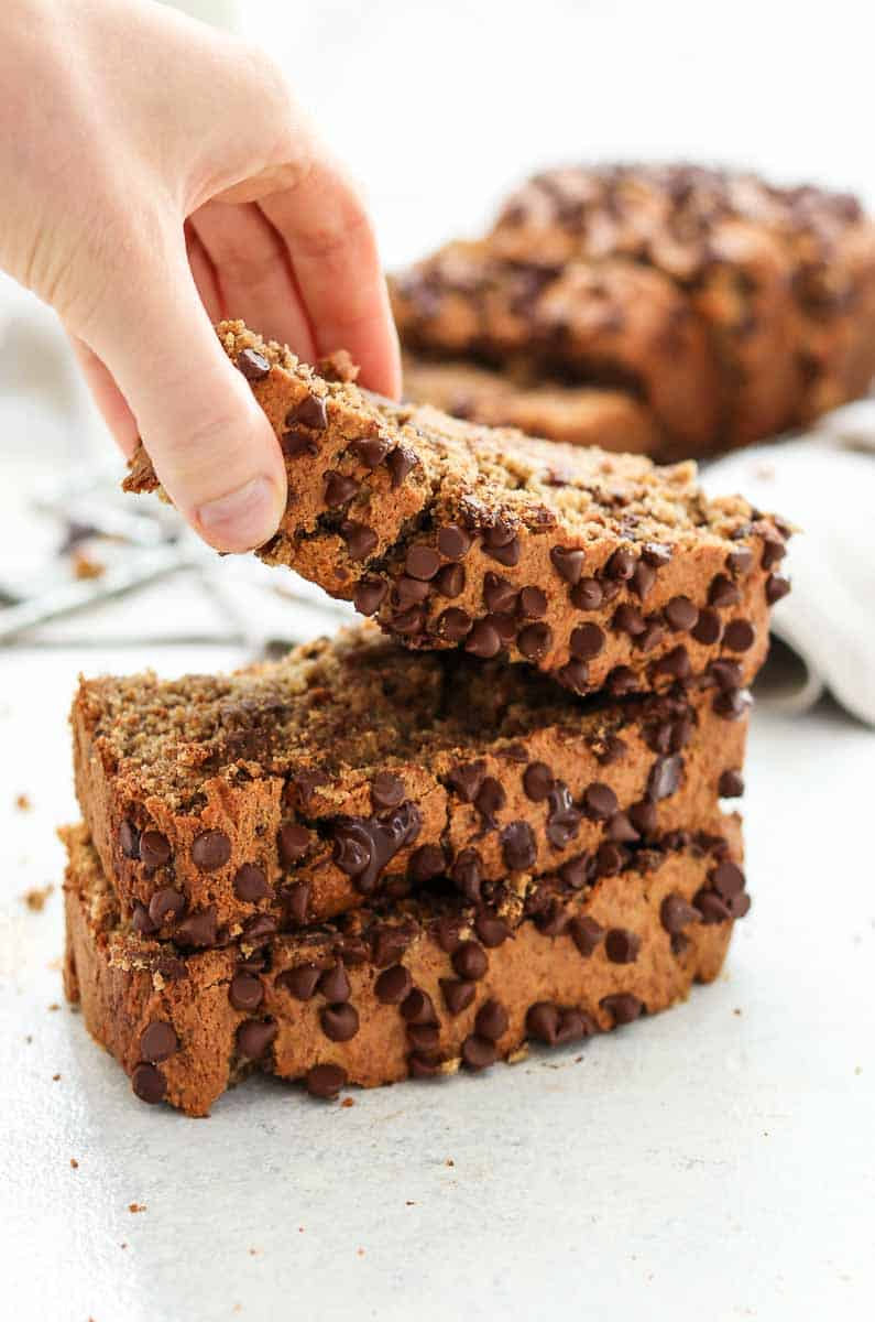 Hand reaching for a piece of chocolate chip banana bread.