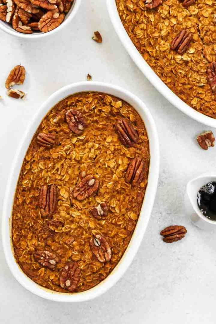Baked oatmeal with pecans.