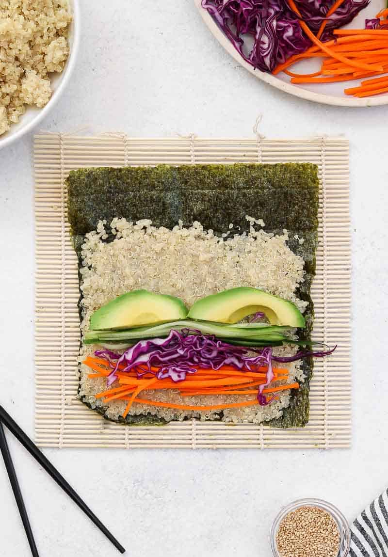 All the veggies and quinoa sushi about to be rolled.