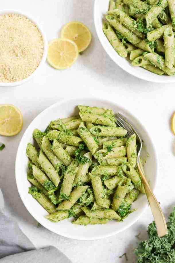 Pesto pasta with penne and cashew parmesan.