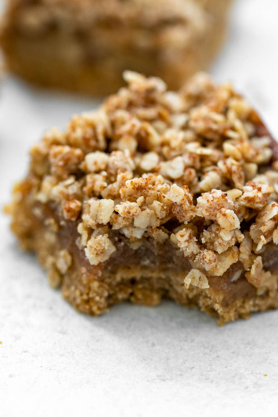 Up close of the crumble for the recipe.