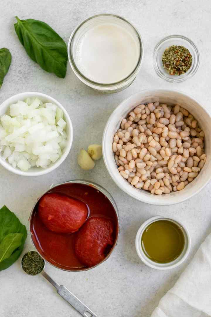 Ingredients for the recipe in white bowls.