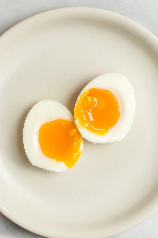 Soft boiled egg cut in half.