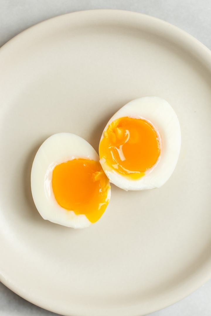 Soft boiled egg cut in half.