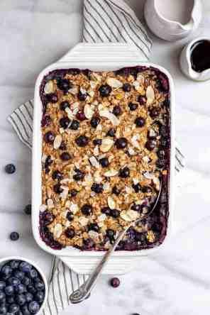 Maple Blueberry Baked Oatmeal