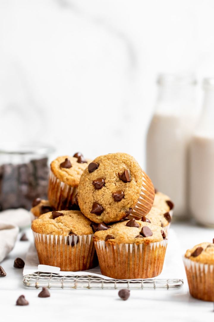 Straight on shot showing muffins stacked on each other to show the sides and tops.