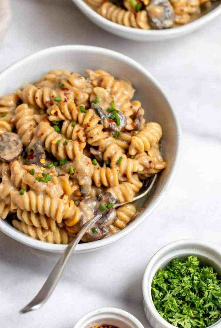 Side angle of the final vegetarian stroganoff with rotini pasta.