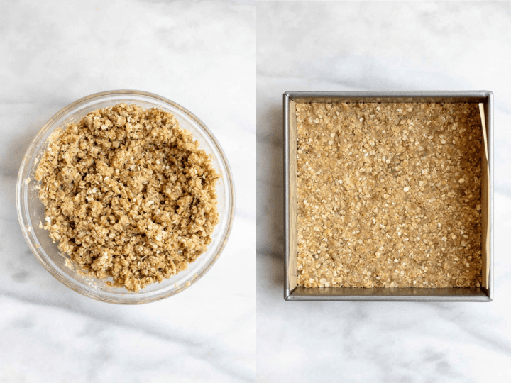 Two images showing how to make the crust.