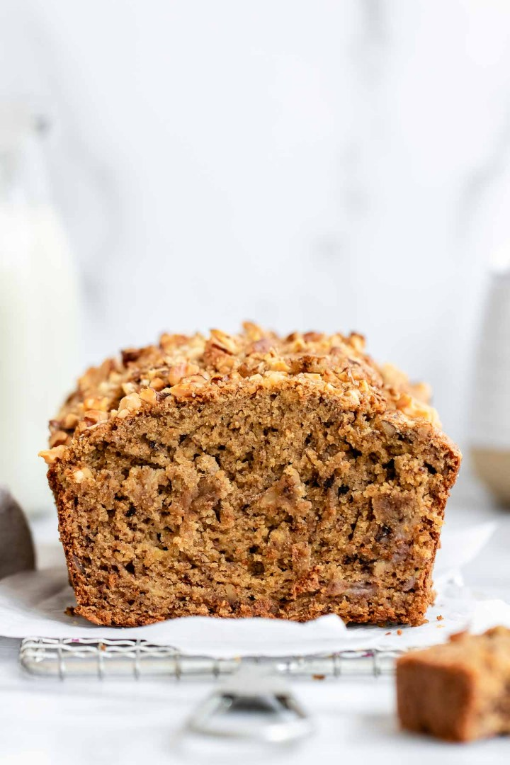 Up close image of the gluten free banana bread to show texture.