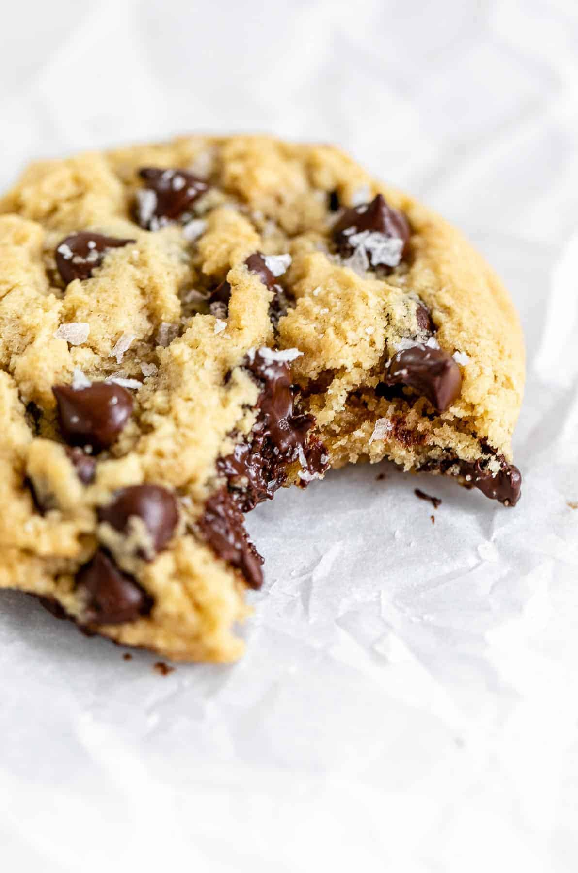 Up close image of the cookie with melted chocolate.
