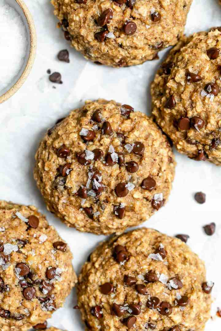 Up close image of the breakfast cookies with sea salt on top.