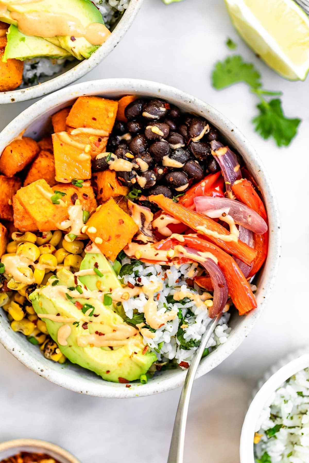 Up close image of the vegan burrito bowl.